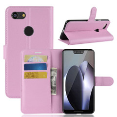 Google Pixel 3 XL Leather Wallet Case Pink Litchi Leather Cover with Kickstand and Card Slots | Leather Google Pixel 3 XL Covers | Leather Google Pixel 3 XL Cases | iCoverLover