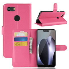Google Pixel 3 XL Leather Wallet Case Magenta Lychee Leather Cover with Kickstand and Card Slots | Leather Google Pixel 3 XL Covers | Leather Google Pixel 3 XL Cases | iCoverLover