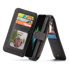 iPhone XS Max Case Black Wild Horse Texture PU Leather Detachable Folio Case with Card Slots and Zippered Compartment | Leather Apple iPhone XS Max Cases | Leather Apple iPhone XS Max Covers | iCoverLover