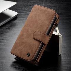 iPhone XS Max Case Brown Wild Horse Texture PU Leather Detachable Folio Case with Card Slots and Zippered Compartment | Leather Apple iPhone XS Max Cases | Leather Apple iPhone XS Max Covers | iCoverLover