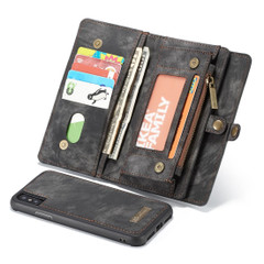 iPhone XS Max Case Black Leather Multifunctional Case with 11 Card Slots, 1 Cash Slot, 1 Photo Display and Zipper Wallet | Leather Apple iPhone XS Max Cases | Leather Apple iPhone XS Max Covers | iCoverLover