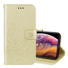 iPhone XS Max Case Gold Rose Embossed PU Leather Horizontal Flip Case with Card Slots and Built-in Kickstand| Leather Apple iPhone XS Max Cases | Leather Apple iPhone XS Max Covers | iCoverLover