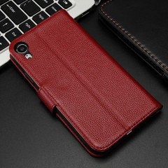 iPhone XR Case Red Fashion Cowhide Genuine Leather Wallet Cover with 2 Card Slots, 1 Cash Slot & Built-in Kickstand | Genuine Leather iPhone XR Covers Cases | Genuine Leather iPhone XR Covers