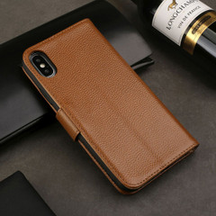iPhone XS MAX Case Brown Fashion Cowhide Genuine Leather Wallet Cover with 2 Card Slots, 1 Cash Slot & Shockproof | Genuine Leather iPhone XS MAX Covers Cases | Genuine Leather iPhone XS MAX Covers
