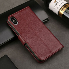 iPhone XS MAX Case Red Fashion Cowhide Genuine Leather Wallet Cover with 2 Card Slots, 1 Cash Slot & Shockproof | Genuine Leather iPhone XS MAX Covers Cases | Genuine Leather iPhone XS MAX Covers