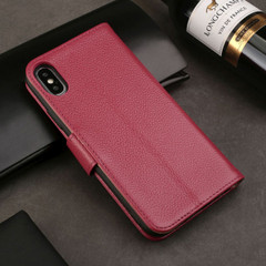 iPhone XS MAX Case Pink Fashion Cowhide Genuine Leather Wallet Cover with 2 Card Slots, 1 Cash Slot & Shockproof | Genuine Leather iPhone XS MAX Covers Cases | Genuine Leather iPhone XS MAX Covers