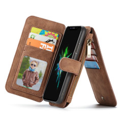 iPhone XR Case Brown Wild Horse Texture Detachable Folio Cover with 14 Card Slots, 1 Photo Display, and Zipper Wallet | Leather Apple iPhone XR Cases | Leather Apple iPhone XR Covers | iCoverLover
