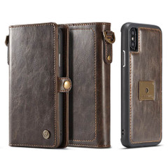 iPhone XR Case Brown Detachable Horizontal Flip Leather Case with Lanyard and Buckle, 6 Card Slots, and 1 Cash Slot| Leather Apple iPhone XR Cases | Leather Apple iPhone XR Covers | iCoverLover