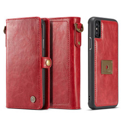 iPhone XR Case Red Detachable Horizontal Flip Leather Case with Lanyard and Buckle, 6 Card Slots, and 1 Cash Slot | Leather Apple iPhone XR Cases | Leather Apple iPhone XR Covers | iCoverLover