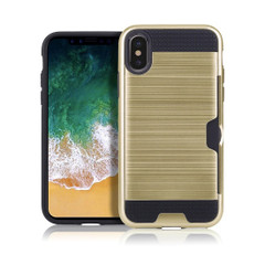 iPhone XR Case Gold Brushed Metal Texture Shockproof TPU And PC Cover 1 Card Slot, Scratch-Resistance | Armor Apple iPhone XR Cases | Armor Apple iPhone XR Covers | iCoverLover