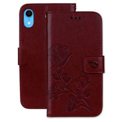 iPhone XR Case Brown Rose-Embossed Horizontal Flip PU Leather Cover With 2 Card Slots, Cash Pocket Compartment | Leather Apple iPhone XR Cases | Leather Apple iPhone XR Covers | iCoverLover