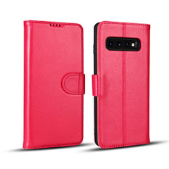 Samsung Galaxy S10 PLUS Case Pink Fashion Cowhide Genuine Leather Flip Cover with 2 Card Slots, 1 Cash Slot & Shockproof   Genuine Leather Samsung Galaxy S10 PLUS Covers Cases   Genuine Leather Samsung Galaxy S10 PLUS Covers