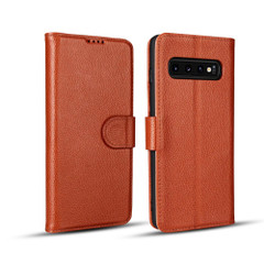 Samsung Galaxy S10 Case Brown Fashion Cowhide Genuine Leather Flip Cover with 2 Card Slots, 1 Cash Slot & Shockproof | Genuine Leather Samsung Galaxy S10 Covers Cases | Genuine Leather Samsung Galaxy S10 Covers