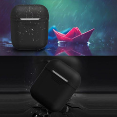 For Apple Airpods 1 & 2 Storage Bag Black Silicone Protective Box with Impact-resistant, Scratch-proof and Anti-loss | AirPods Accessories | iCoverLover