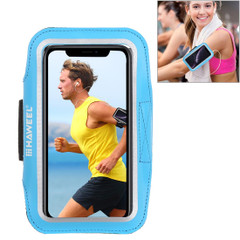 Samsung S10 PLUS and iPhone XS MAX Case Blue PVC Leather Sports Armband with Earphone Hole, Key Holder, Adjustable Length | Running Sports Accessories | Phone Accessories | iCoverLover