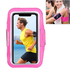 Samsung S10 PLUS and iPhone XS MAX Case Magenta PVC Leather Sports Armband with Earphone Hole, Key Holder, Adjustable Length | Running Sports Accessories | Phone Accessories | iCoverLover