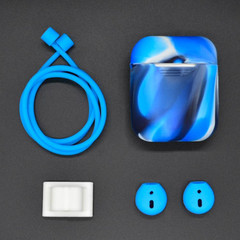 For Apple Airpods 1 & 2 Blue Shockproof Cover Case Set with Anti-Lost Rope, Silicone Case, Earphone Hang Buckle and Earplug Cover | AirPods Accessories | iCoverLover