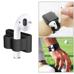 For Apple Airpods 1 & 2 Black Shockproof Cover Case Set with Anti-Lost Rope, Silicone Case, Earphone Hang Buckle and Earplug Cover   AirPods Accessories   iCoverLover