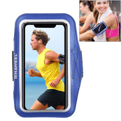 Samsung S10 PLUS and iPhone XS MAX Case Dark Blue PVC Leather Sports Armband with Earphone Hole, Key Holder, Adjustable   Running Sports Accessories   Phone Accessories   iCoverLover