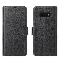 Samsung Galaxy S10e Case Black Real Top-grain Cow Leather Wallet with 3 Card Slots, 1 Cash Compartment, Magnetic Flap Closure, and Built-in Kickstand | Genuine Leather Samsung Galaxy S10e Cases | Genuine Leather Samsung Galaxy S10e Covers