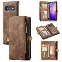 Samsung Galaxy S10+ Plus Case Brown PU Leather Detachable Cover, 11 Card Slots, 2 Cash Pockets, 2 Photo Frames, Kickstand | Leather Samsung Galaxy S10+ Plus Covers | Leather Samsung Galaxy S10+ Plus Cases | iCoverLover