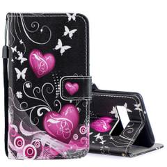 Samsung Galaxy S10 Case Peach Heart Pattern PU Leather Folio Cover, 2 Card Slots, 1 Cash Pocket, Kickstand, Lanyard | Leather Samsung Galaxy S10 Covers | Leather Samsung Galaxy S10 Cases | iCoverLover