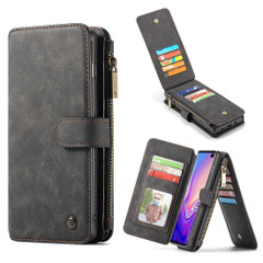 Samsung Galaxy S10+ Plus Case Black PU Leather Wild Horse Texture Detachable Cover, 14 Card Slots, Photo Frame, Kickstand | Leather Samsung Galaxy S10+ Plus Covers | Leather Samsung Galaxy S10+ Plus Cases | iCoverLover