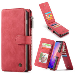 Samsung Galaxy S10+ Plus Case Red PU Leather Wild Horse Texture Detachable Cover, 14 Card Slots, Photo Frame, Kickstand | Leather Samsung Galaxy S10+ Plus Covers | Leather Samsung Galaxy S10+ Plus Cases | iCoverLover