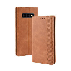 Samsung Galaxy S10 Case Brown Retro Texture PU Leather Folio Wallet Cover with Magnetic Buckle, Card Slots and Cash Slot   Leather Samsung Galaxy S10 Covers   Leather Samsung Galaxy S10 Cases   iCoverLover