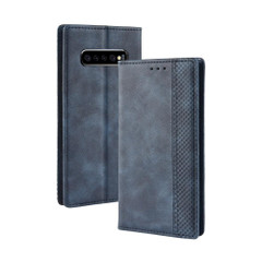 Samsung Galaxy S10 PLUS Case Blue Retro Texture PU Leather Folio Cover with Magnetic Buckle, Kickstand and Card Slots | Leather Samsung Galaxy S10 Plus Covers | Leather Samsung Galaxy S10 Plus Cases | iCoverLover