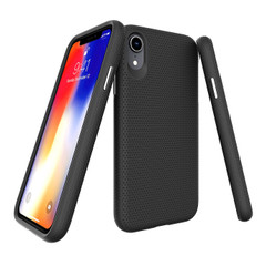 iPhone XR Case Black Unique Textured TPU & PC Protective Back Shell Cover | Armor Apple iPhone XR Covers | Armor Apple iPhone XR Cases | iCoverLover