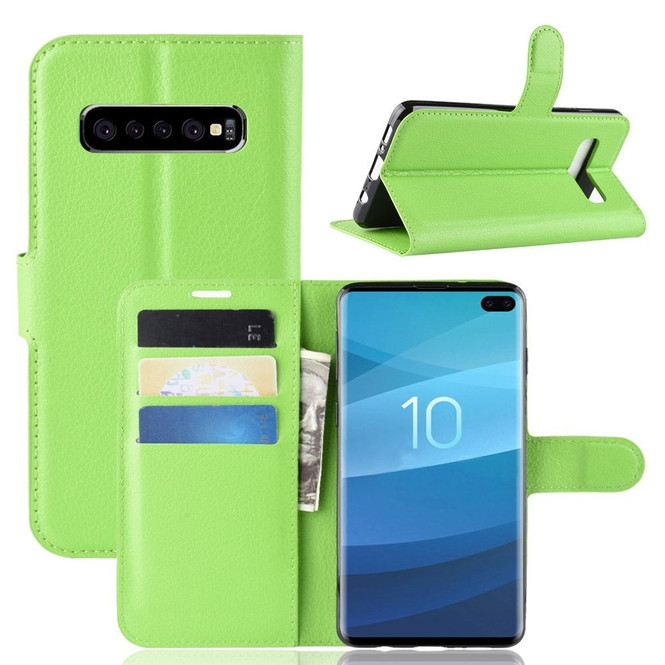 Samsung Galaxy S10 Green Lychee Texture Horizontal Flip Leather Cover With 3 Card Slots & Stand | Free Delivery across Australia