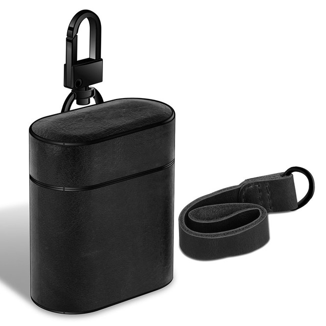 Apple AirPods 1/2 Case Black Genuine Leather Protective Wireless Earphones Box with Shockproof, Anti Scratch, Strap | Free Delivery across Australia