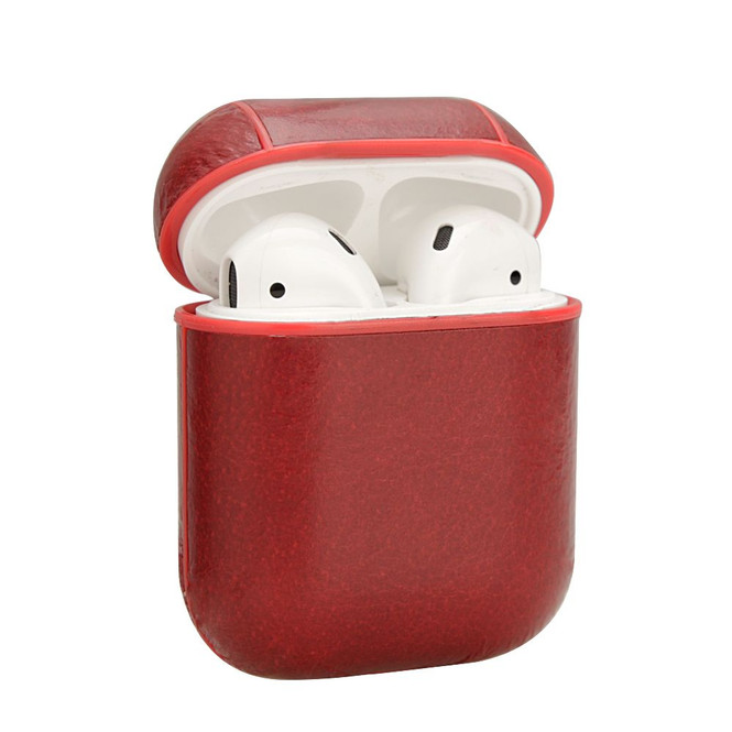 Apple AirPods 1/2 Case Red Genuine Leather Protective Wireless Earphones Box with Shockproof, Anti Scratch, Strap | Free Delivery across Australia