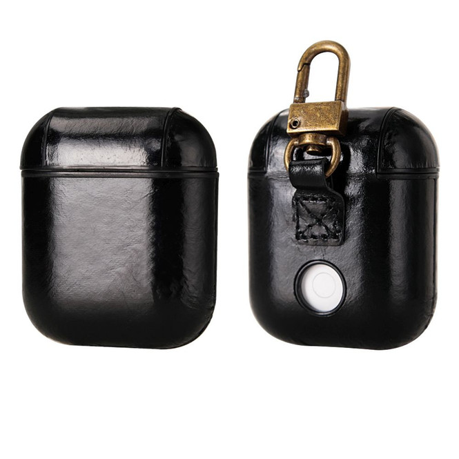Apple AirPods 1/2 Case Black Genuine Leather Protective Wireless Earphones Box with Shockproof, Anti Scratch, Hook | Free Delivery across Australia