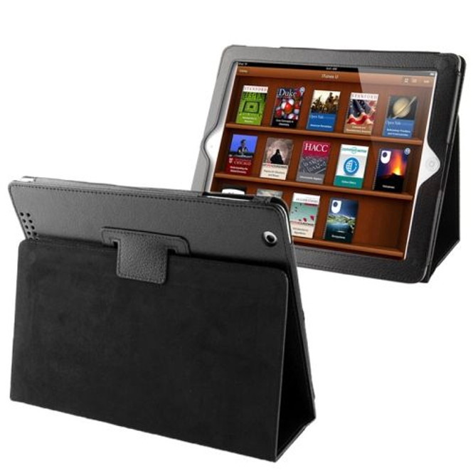 Black Litchi Leather iPad 2 / iPad 3 / iPad 4 Case | iPad Cases Australia | iPad 2 / 3 / 4 Cases | iCoverLover