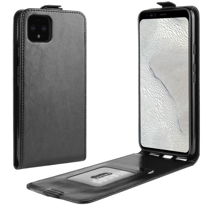 Google Pixel 4 XL Vertical Flip Case, Black, Card Slot   iCoverLover
