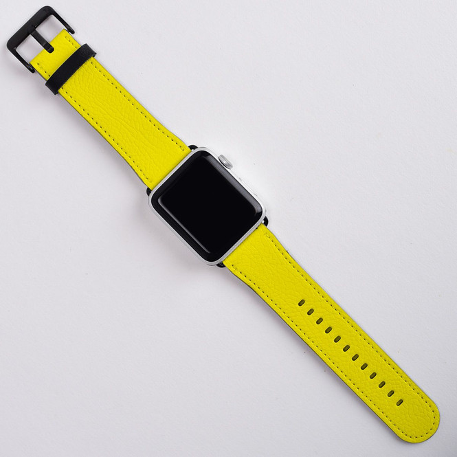 Apple Watch Band (44,42,40,38mm) Series 1, 2, 3 & 4 Vegan Leather Strap iWatch Yellow
