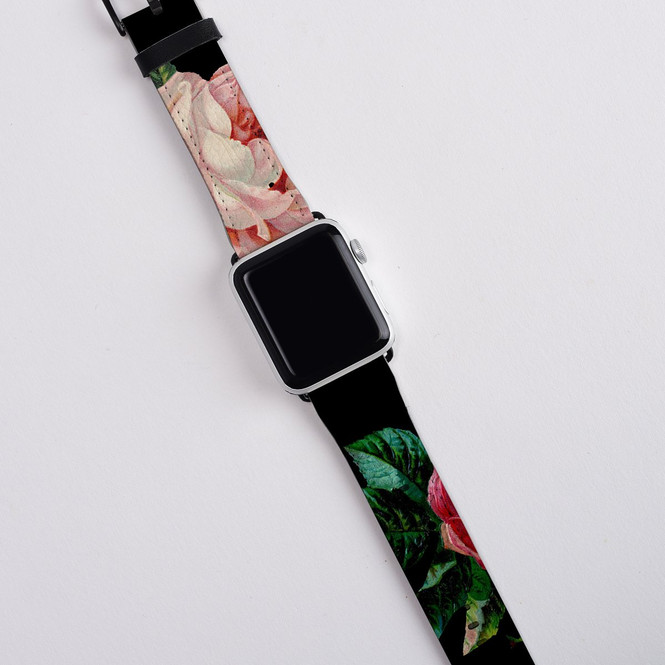Apple Watch Band (44,42,40,38mm) Series 1, 2, 3 & 4 Vegan Leather Strap, iWatch Roses