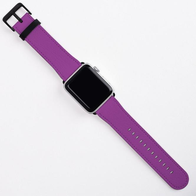 Apple Watch Band (44,42,40,38mm) Vegan Leather Strap Black Buckle, iWatch Purple | iCoverLover