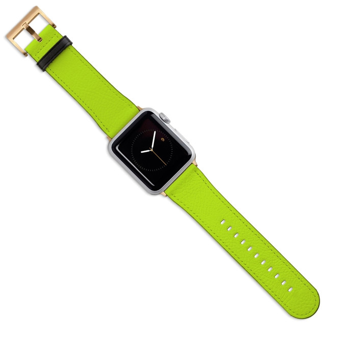 Apple Watch Band (44,42,40,38mm) Vegan Leather Strap Gold Buckle, iWatch Light Green | iCoverLover