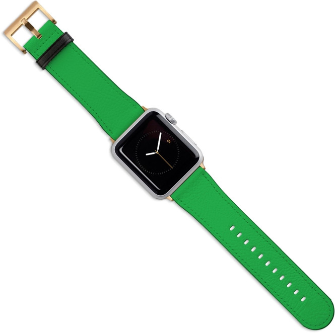 Apple Watch Band (44,42,40,38mm) Vegan Leather Strap Gold Buckle, iWatch Green | iCoverLover