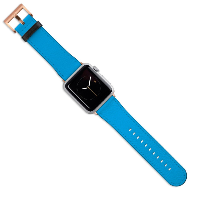Apple Watch Band (44,42,40,38mm) Vegan Leather Strap Rose Gold Buckle, Turquoise | iCoverLover