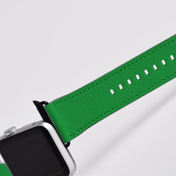 Apple Watch Band (44,42,40,38mm) Vegan Leather Strap Black Buckle, iWatch Green | iCoverLover