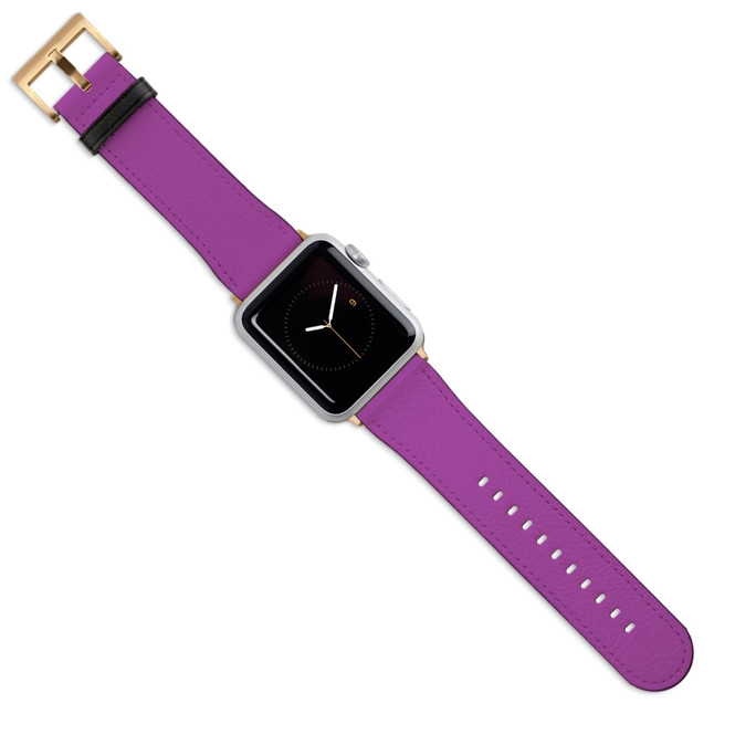 Apple Watch Band (44,42,40,38mm) Vegan Leather Strap Gold Buckle, iWatch Purple | iCoverLover
