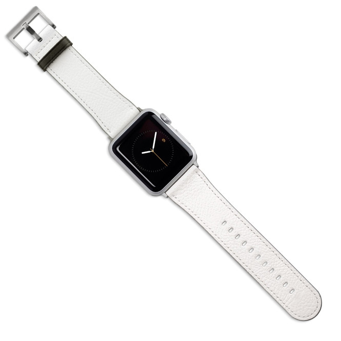 Apple Watch Band (44,42,40,38mm) Vegan Leather Strap Silver Buckle, iWatch White | iCoverLover