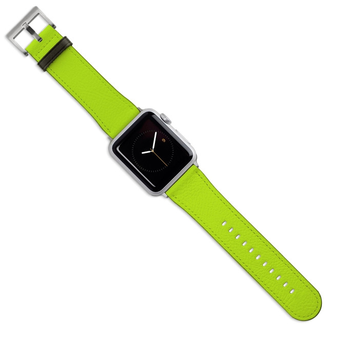 Apple Watch Band (44,42,40,38mm) Vegan Leather Strap Silver Buckle, iWatch Light Green | iCoverLover