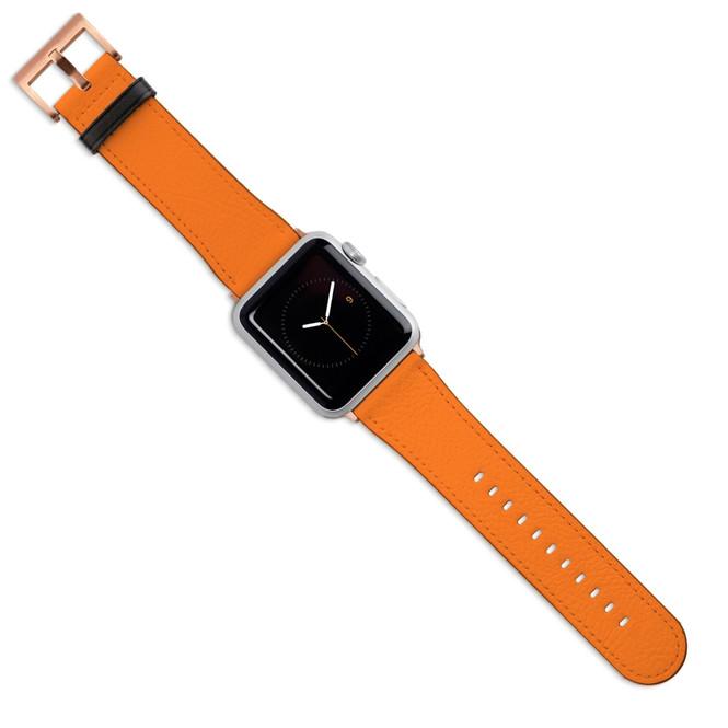 Apple Watch Band (44,42,40,38mm) Vegan Leather Strap Rose Gold Buckle, Orange | iCoverLover