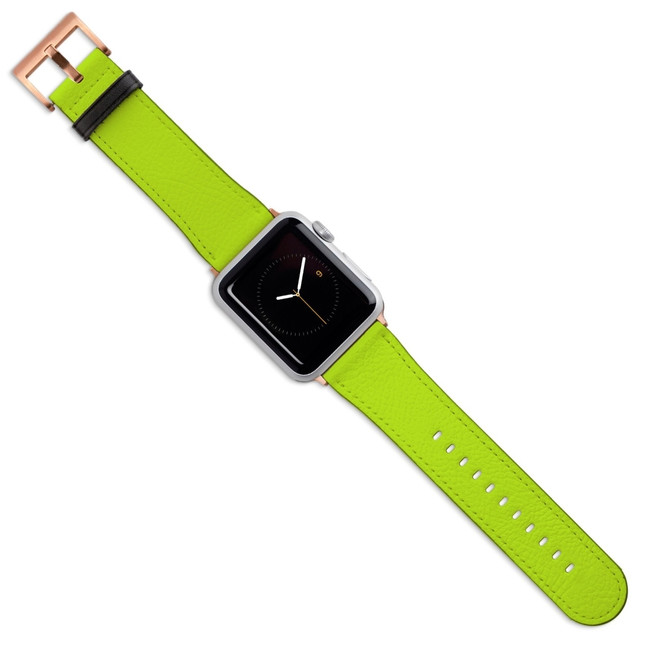 Apple Watch Band (44,42,40,38mm) Vegan Leather Strap Rose Gold Buckle, Light Green | iCoverLover