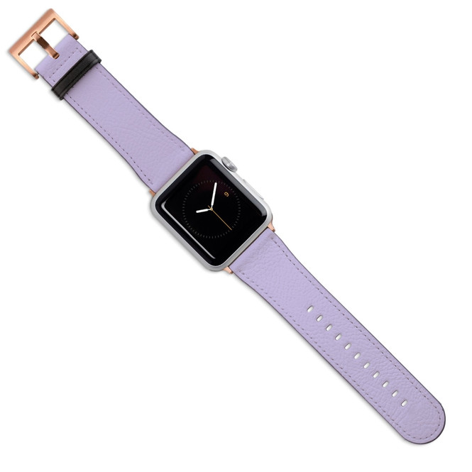 Apple Watch Band (44,42,40,38mm) Vegan Leather Strap Rose Gold Buckle, Lavender | iCoverLover